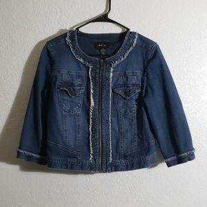 Crop Zipper Jean Jacket Small